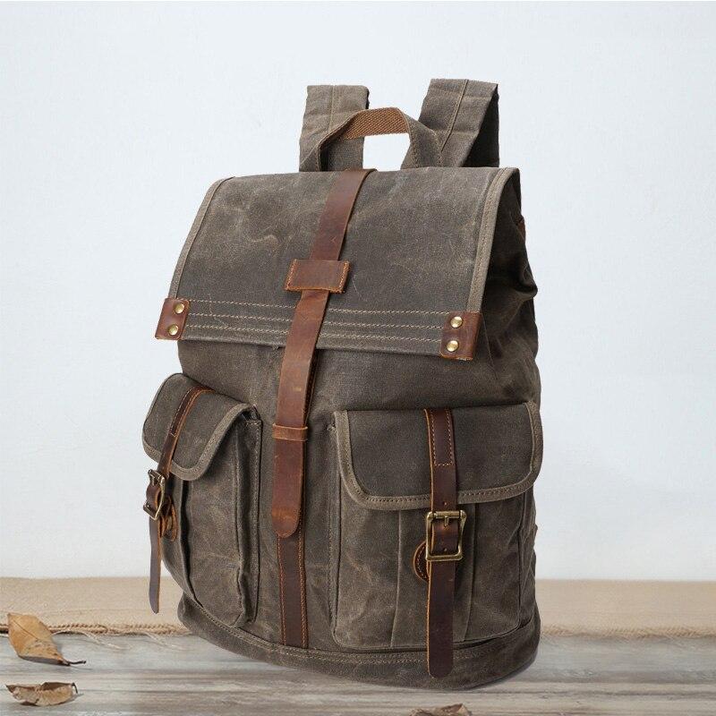SOAEON extérieur rétro huile cire imperméable toile sac ordinateur cartable homme sac à dos pour ordinateur portable bookbag voyage épaule sac à dos