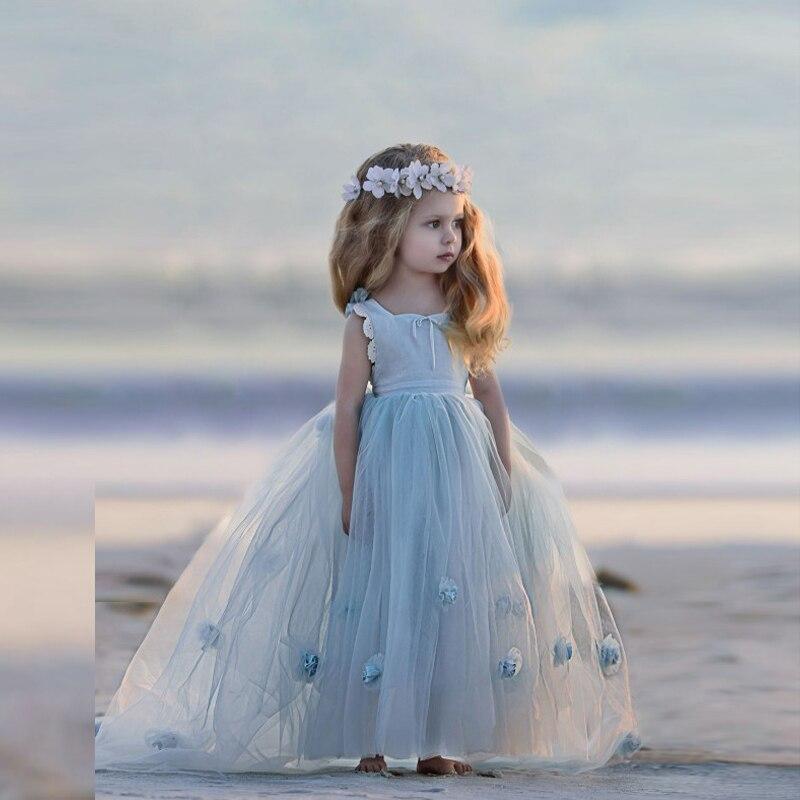 Adorable Light Blue Little Girls Formal Dress Long Teens Pageant
