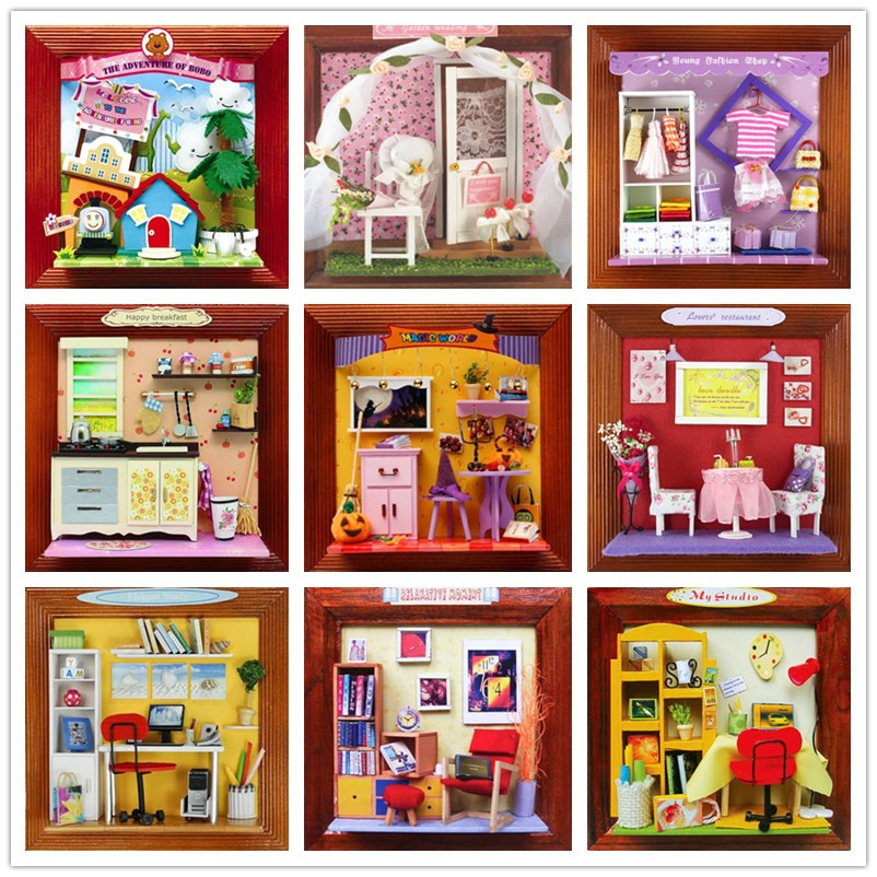 DIY Frame House Home Decor Wooden Doll House Furniture With Light Miniature Dollhouse Kits Handmade Toy Birthday Halloween Gift