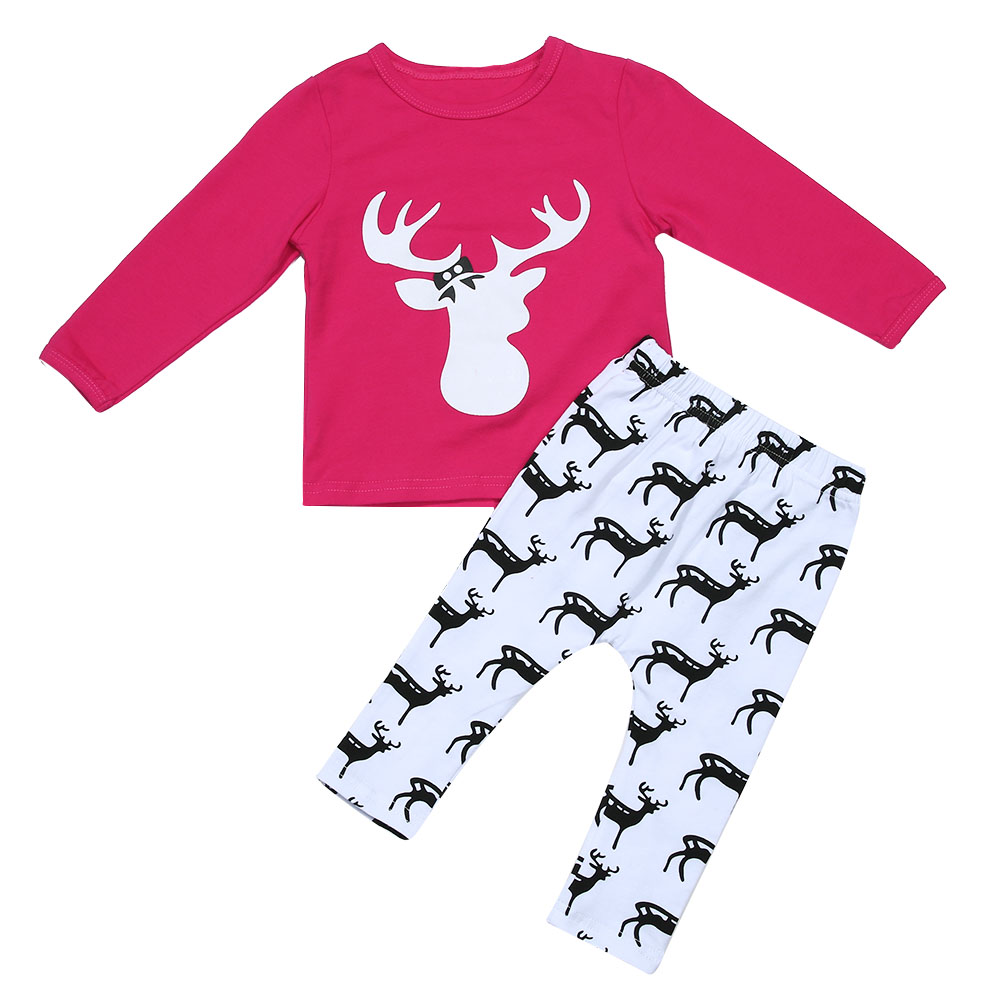 Cute Cartoon 2pcs Clothes Set Cotton Deer Printing Long Sleeve T-shirt+Long Pant Winter Baby Girl Clothes Set