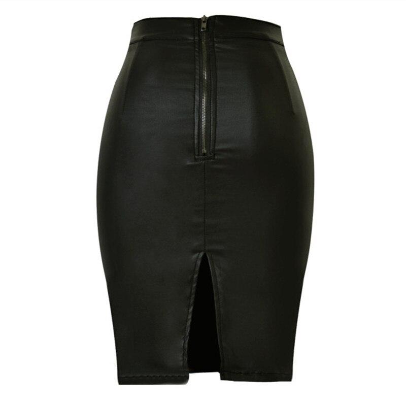 4c67ea12751d3 LOGAMI Femmes Faux Cuir Jupe Crayon Taille Haute Jupes Femmes Jupe Noir  Midi Saia Couro Jupe Simili Cuir dans Jupes de Mode Femme et Accessoires  sur ...