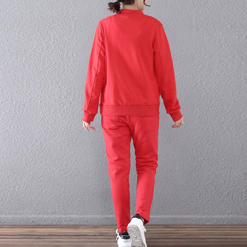 Pantalons light Style En La Red orange Printemps color Taille Costume Loisirs Survêtement Big Ensemble 2 Automne Hauts Femmes Pièces Gray Costumes Coton Hs149 Russie Grande black Blue Amples Nouveau Svnqwva5