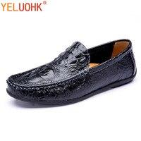 Crocodile Shoes Men Loafers Genuine Leather Shoes Moccasins Men Flats Casual Men Shoes Soft Embossed Slip