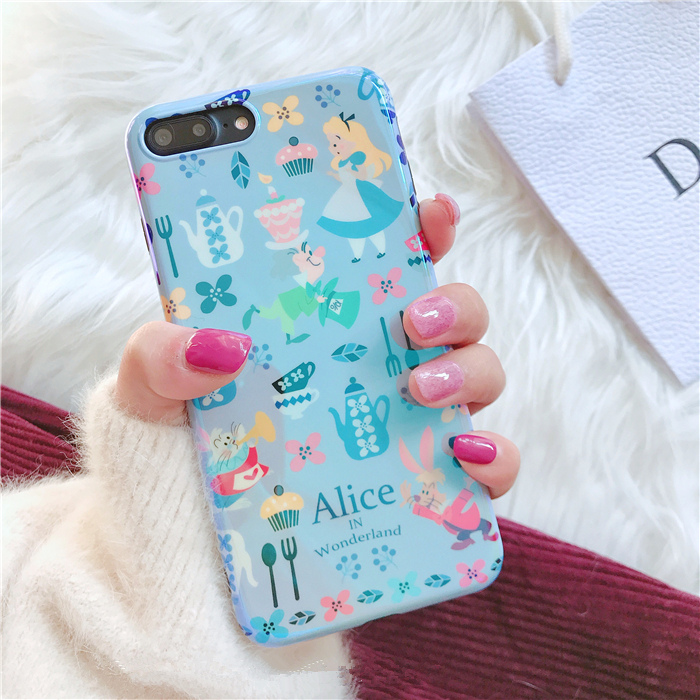 Alice in Wonderland Blue ray phone case For iphone X 7 7Plus 8 8plus Cartoon Soft silicon case for iphone 6 6s 6plus