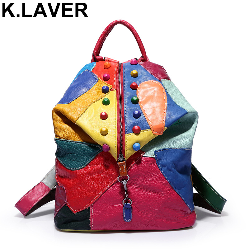 K.LAVER New Genuine Leather Cowhide Backpacks Women Fashion Bag Rucksacks School Patchwork Backpack For Girls Mochila Brand Bags zency genuine leather backpacks female girls women backpack top layer cowhide school bag gray black pink purple black color