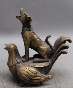 "5.5"" Chinese Ancient Brass Dog Dogs Ride Bird Birds Phoenix Beast Statue"
