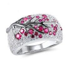 Exquisite Austria Crystal Rings Unique Plum Tree Branch Flowers Bridal Rhinestone Promise For Woman Female