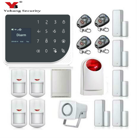 YoBang Security Wireless WIFI GSM GPRS Home Seurity Alarm System With PIR Motion Sensing Function Russian Voice APP Remote.