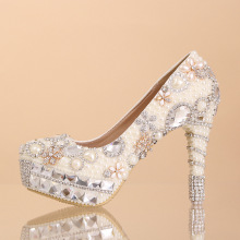 Luxury pearl diamond wedding shoes high with waterproof shoes bridal shoes  photographs dress shoes