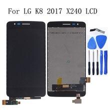 """5.0 """"oryginalny wyświetlacz do LG K8 2017X240 H X240DSF X240 X240K wyświetlacz LCD ekran dotykowy z ramką ZESTAW DO NAPRAWIANIA wymiana + narzędzia"""
