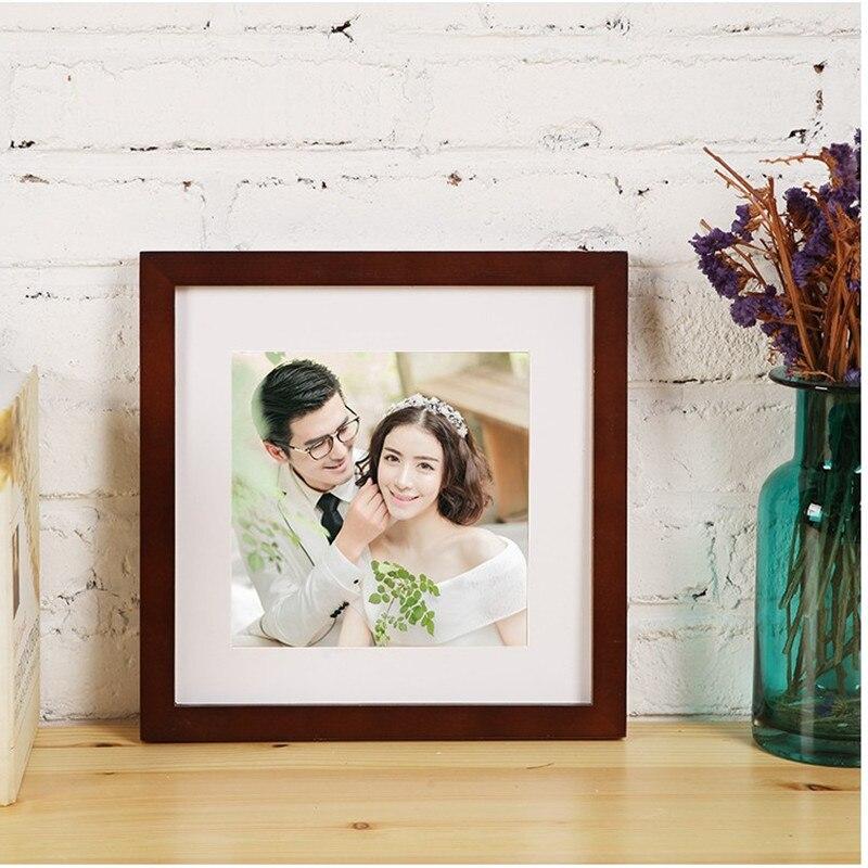 14 colores marco de madera foto sólido tamaño cuadrado 5 6 7 8 10 12 ...