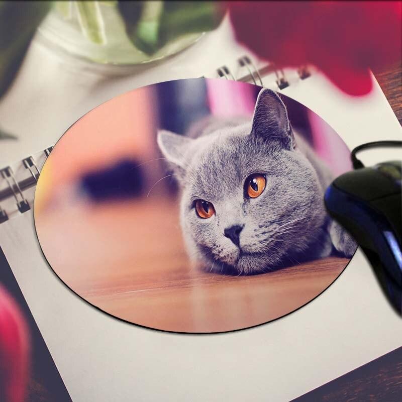Grey Cat Art Print Mouse Pad Anti-Slip Round Mousepad Gift Gaming Speed Mice Mats
