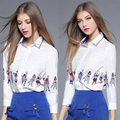 2017 Spring 2 piece Casual loose women suit white Cartoon printing shirt and blue Pocket short skirt Female women's leisure suit
