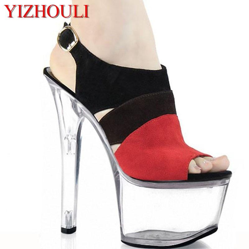 De 2016 forme D'été Noir Sandales Pouce Bloc Couleur Cm Clubbing Dancing Pour Talons Pole Plate 7 Sexy Femmes Mode 17 clair Haute Chaussures SVUzqGMp
