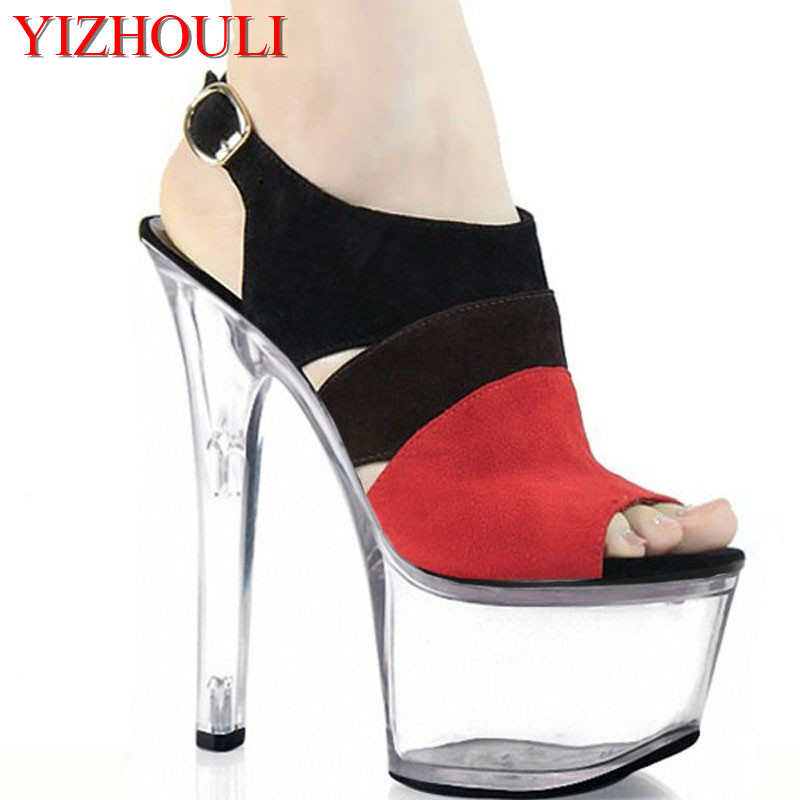 b45ac2807e8a 17cm summer sexy pole dancing sandals for women 2016 fashion clubbing high  heels 7 inch platform color block shoes