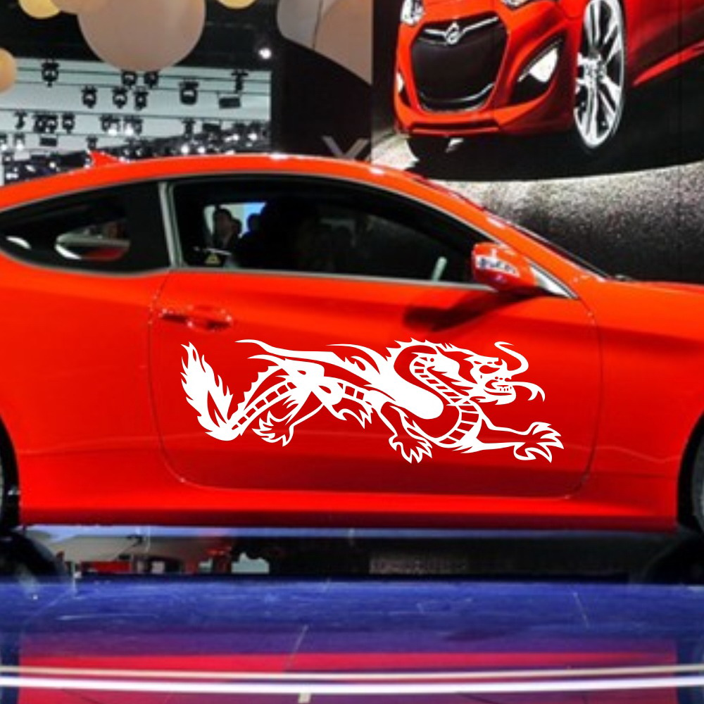 Car tribal dragon flames 46 door decals for coupe vinyl graphics motor side stickers zc409