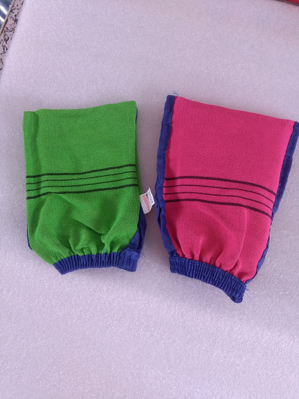 DHL 100pcs lot High quality Double sided hammam scrub mitt magic peeling glove exfoliating tan removal