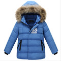 4-13T Boys Down Jacket Winter Coat Children Fashion Big Fur Collar Hooded Letters Warm Outerwear 2016 New Arrival High Quality
