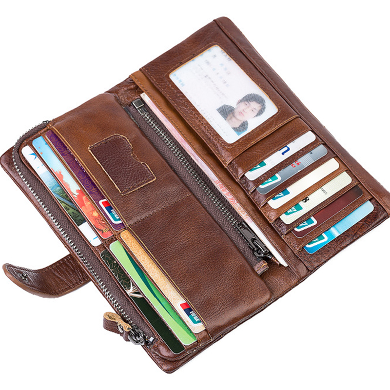 HOT 100% Genius Leather Wallets Men Long Designer Famous Brand Card Purse Hasp Male Clutch Wallets Vintage Money Pocke цена и фото
