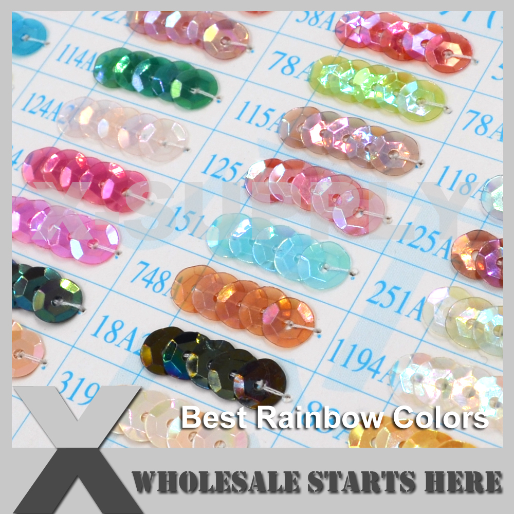 (Best Rainbow Colors) Round Flat or Cup Loose Sequin Paillettes for Party Evening Dress,Costume,Nail Art