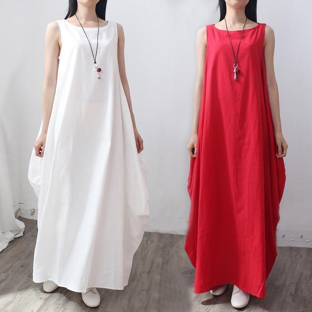 285f3c007ea Summer Plus Size Dresses Sleeveless O Neck Big Hem Loose Cotton Linen Maxi Dress  White Shirt Red Beach Dress 4XL 5XL Robe