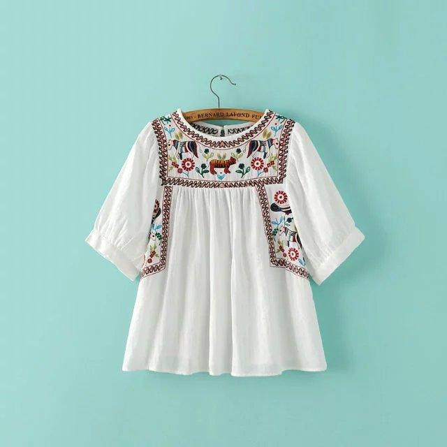 Women's Tunic Embroidered Peasant Tops Mexican Bohemian ...