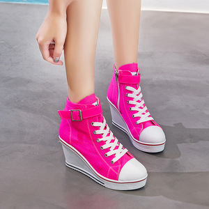 Image 5 - 2019女性のネオンイエローグリーンピンクファッションスニーカーハイトップバックルレースアッププラットフォームカジュアルシューズ隠しウェッジヒールの靴女性