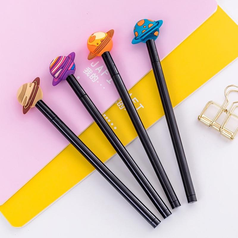 24 pcs coreia papelaria aprendizagem escritorio caneta de tinta preta bonito criativo colorido planeta gel caneta