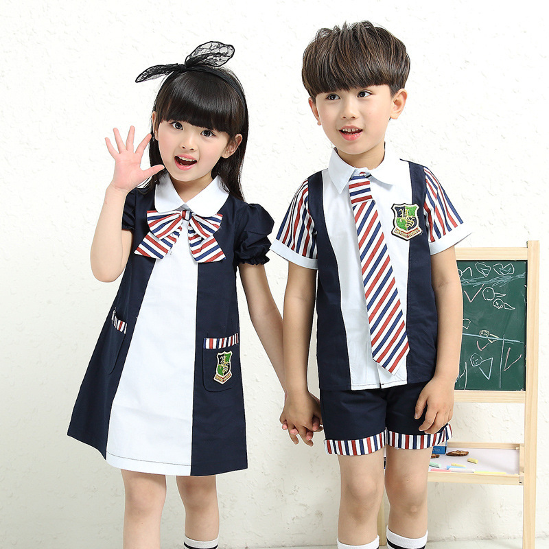 2016 New Kindergarten Summer Clothes Girls Boys Short Sleeved Uniforms Suite Pupils Children Dress Class Service Clothing