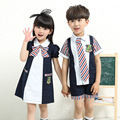 2016 New Kindergarten Summer Clothes Girls Boys Short Sleeved Uniforms Suite Pupils Girls Children Dress Class Service Clothing