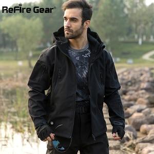 Image 5 - Refireギア紺ソフトシェルミリタリージャケット男性防水軍の戦術的なジャケットコート冬暖かいフリースフード付きウインドブレーカー