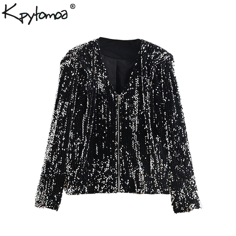 Vintage Pockets Sequined Jacket Coat Women 2020 Fashion V Neck Long Sleeve Zipper Ladies Outerwear Casual Casaco Femme Chic Tops