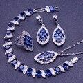 Moda Azul Creado Zafiro Topacio Blanco Mujeres 925 Pulseras de Plata de La Joyería/Pendiente/Colgante/Collar/anillo de Caja Libre