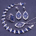 Trendy Blue Created Sapphire White Topaz Women 925 Sterling Silver Jewelry Sets Bracelets/Earring/Pendant/Necklace/Ring Free Box
