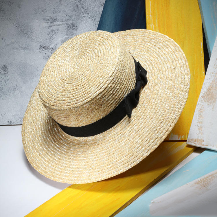 Unisex nyári szalmakalapok nők széles karimájú lapos Top strand - Ruházati kiegészítők
