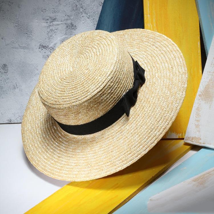 Unisex Summer Straw Hats Women Wide Brim Flat Top Beach Sunhat Sombreros Mujer Men s Boater