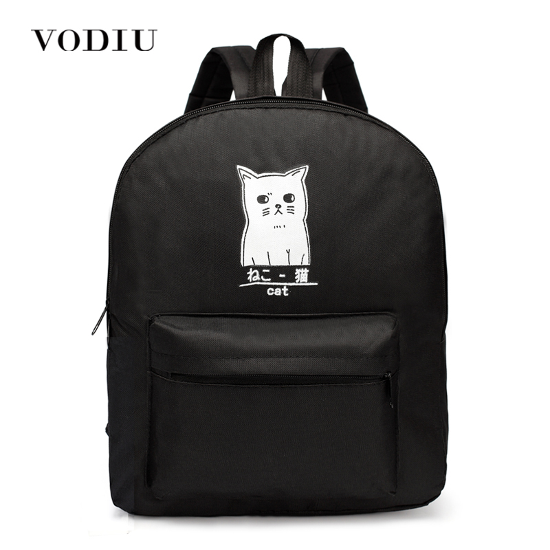 Women Backpack For Teenagers Girls Boy Laptop Harajuku Canvas Small Print Cartoon Anime Cat Designer Casual Female School Bags