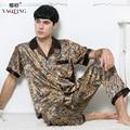 Man Artificial Silk Pajamas 2016 Summer Short Sleeve Satin Sleepwear Man Plus Size Nightclothes Set Loose Paisley Pyjamas Male