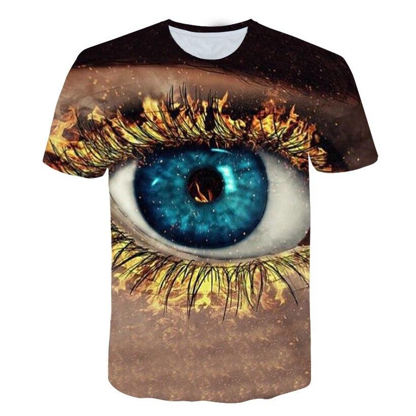Pretty Amazing Gold Fire Eye Lashes Print Men/Women t shirt Summer Casual Short Sleeve O Neck t-shirt 3D Hipster Streetwear Tees