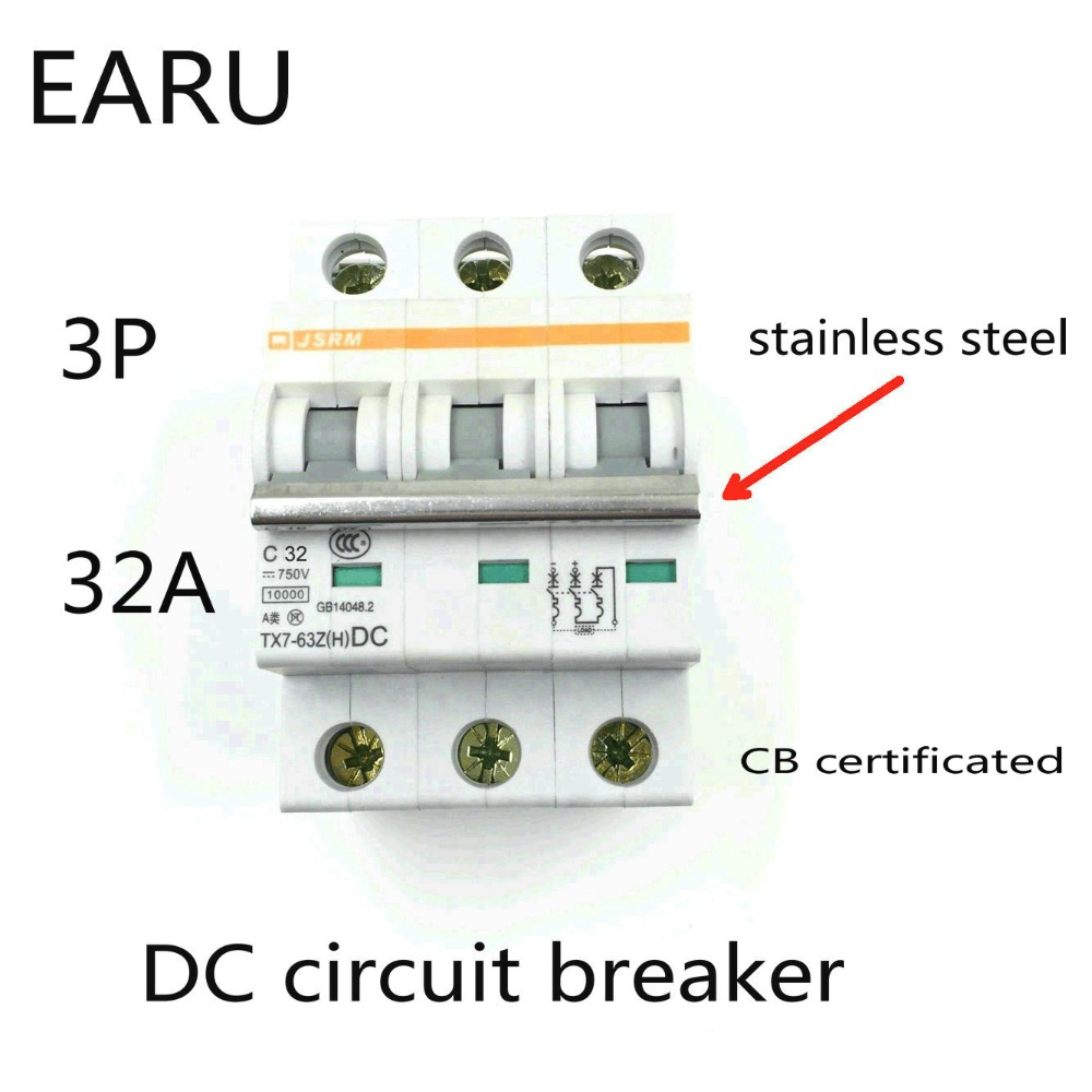 3P 32A DC 750V DC Circuit Breaker MCB for PV Solar Energy Photovoltaic System Battery C curve CB Certificated Din Rail Mounted