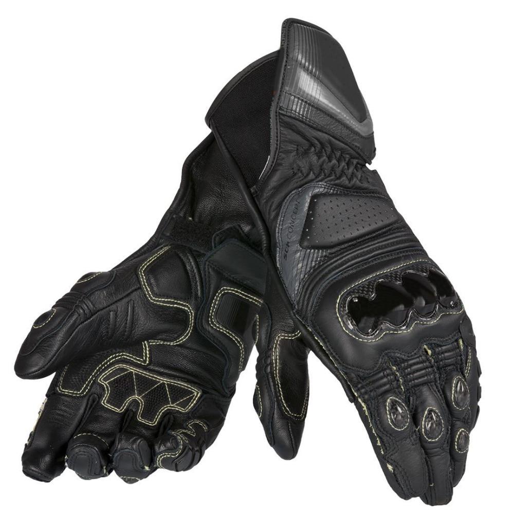 New Dain Carbon D1 Long Black Leather Gloves Motocross Racing Men's Gloves