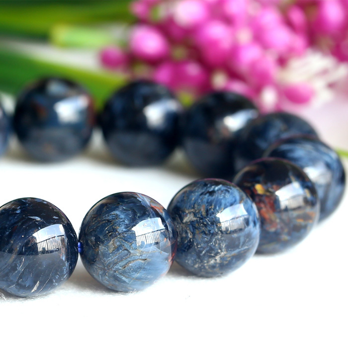 Natural Genuine Aaa Blue Pietersite Stretch Men S Finish Bracelet Round Beads 14mm 04121 In Strand Bracelets From Jewelry Accessories On