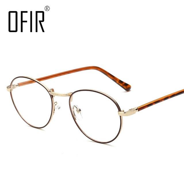 90d5b15979d0a OFIR Designer Woman Glasses Optical Frames Metal Round Glasses Frame Clear  lens Eyeware Retro Computer spectacles