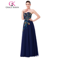 Grace Karin Plus Size Prom Dresses Chiffon Elegant Modest Long Peacock Dress Evening Formal Wear Navy