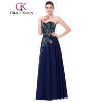 Grace Karin Plus Size Prom Dresses Chiffon Elegant Modest Long Peacock Dress Evening Formal Wear Navy