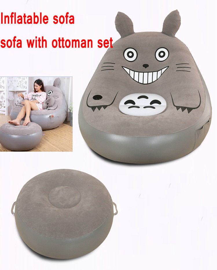 Cat design inflatable sofa beds,outdoor and indoor flocking PVC inflated air sofa chair 130*130*125 CM