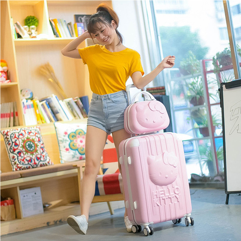 2PCS/SET Lovely 14inch Cosmetic bag 3D hello Kitty 20 24 inches girl students trolley case Travel luggage woman rolling suitcase
