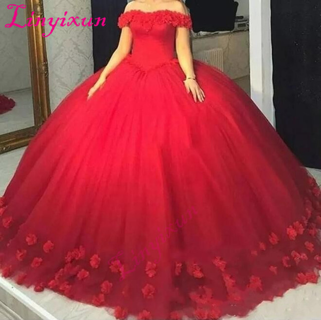 Red 3D-Floral Appliques Puffy Ball Gown Quinceanera Dresses Sweet 16 Off  Shoulder Red Tulle Lace Up Back 2018 Prom Dresses 2778b40076cc