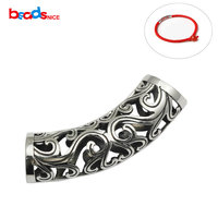 Beadsnice 925 Sterling Silver Hollow Tube Antique Silver Curved Tube Bead Large Spacer Beads Jewelry Making