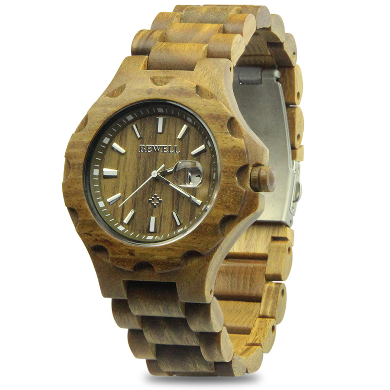 BEWELL  Wooden Watches for Mens Top Brand Luxury display Male Clock Wood Quartz Watch for Men relogio masculino christmas gifts bobo bird brand new sun glasses men square wood oversized zebra wood sunglasses women with wooden box oculos 2017